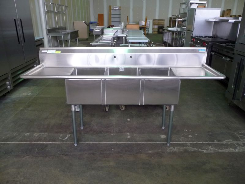 3 Compartment Sink Drain.New Stainless Steel 3 Compartment Sink With Double Drain Boards